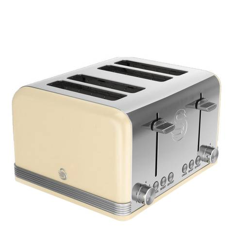Swan Cream Retro 4 Slice Toaster