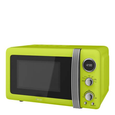 Swan Lime Retro Digital Microwave, 800W