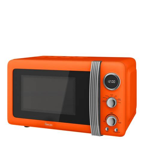 Swan Orange Retro Digital Microwave, 800W