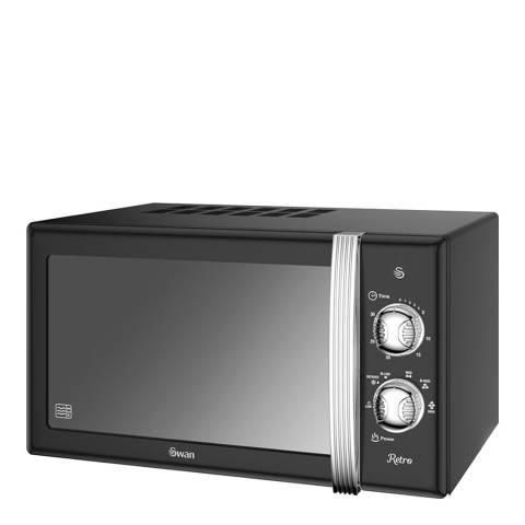 Swan Black Retro Digital Microwave, 800W