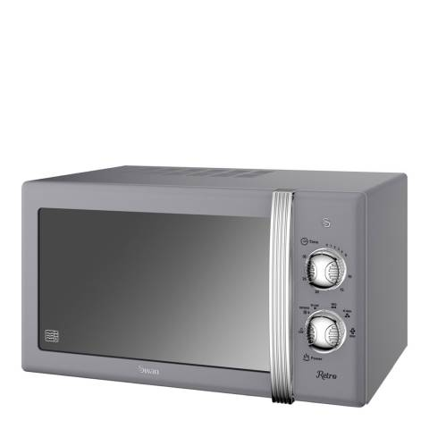 Swan Grey Retro Digital Microwave, 800W