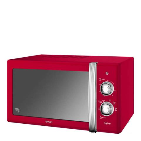 Swan Red Retro Manual Microwave, 800W