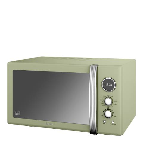 Swan Green Retro Digital Combi Microwave, 25L