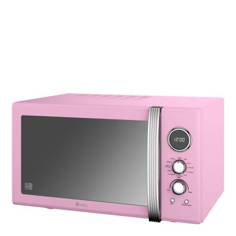 Swan Pink Retro Digital Combi Microwave, 25L