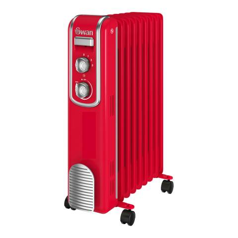 Swan Red Retro Oil Filled Radiator, 2000W