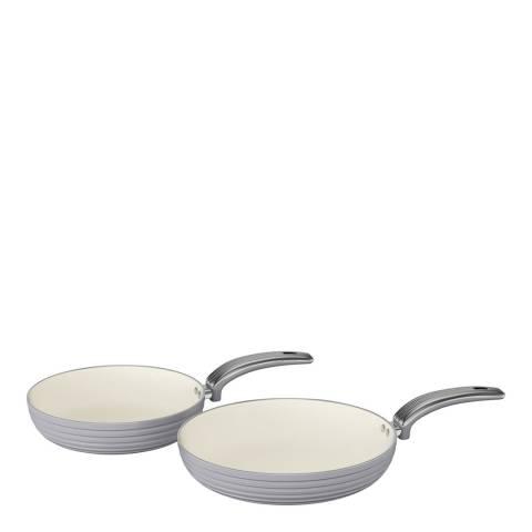 Swan Grey Set of 2 Retro Frying Pans