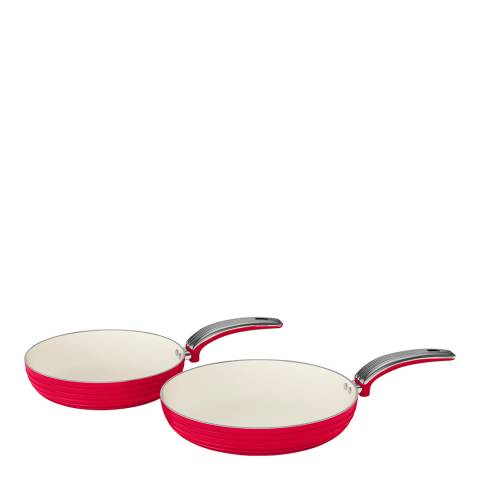 Swan Red Set of 2 Retro Frying Pans
