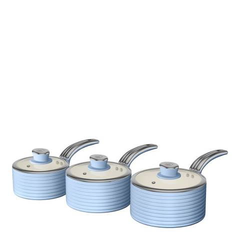 Swan Blue Set of 3 Retro Saucepans