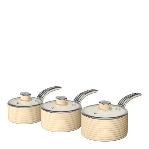 Swan Cream Set of 3 Retro Saucepans