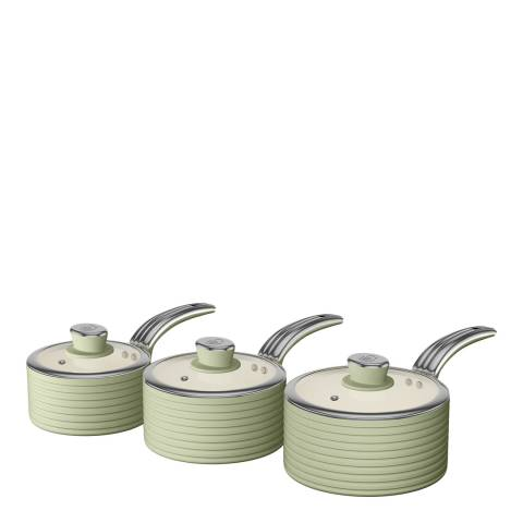 Swan Green Set of 3 Retro Saucepans