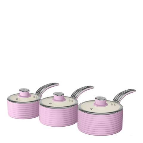 Swan Pink Set of 3 Retro Saucepans