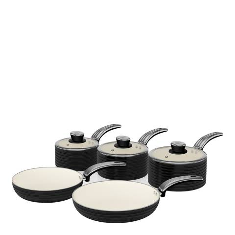 Swan Black Set of 5 Retro Pans