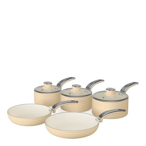 Swan Cream Set of 5 Retro Pans