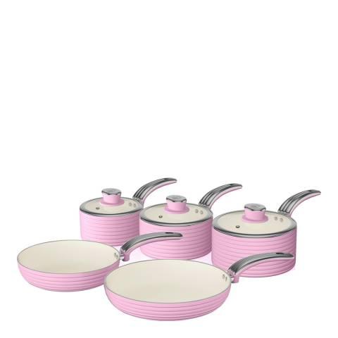 Swan Pink Set of 5 Retro Pans