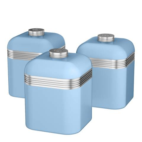 Swan Blue Set of 3 Retro Canisters