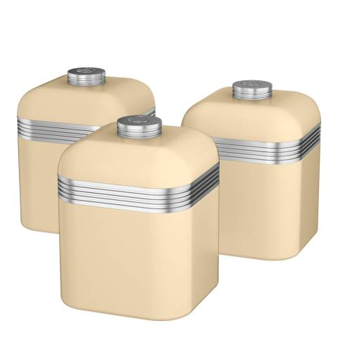 Swan Cream Set of 3 Retro Canisters