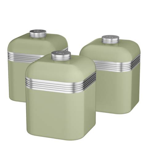 Swan Green Set of 3 Retro Canisters