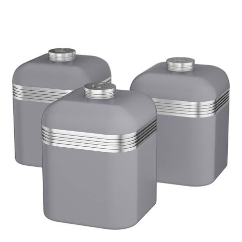 Swan Grey Set of 3 Retro Canisters