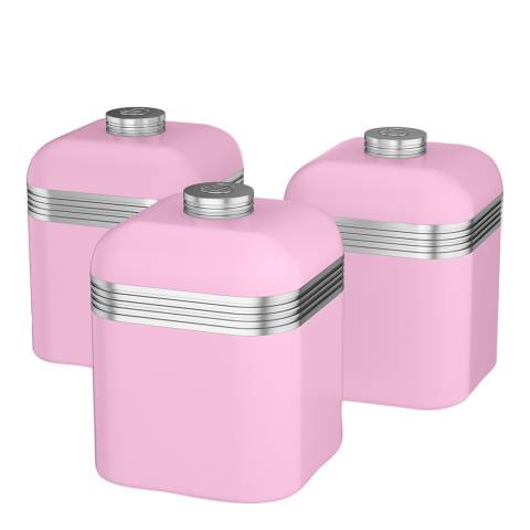 Swan Pink Set of 3 Retro Canisters