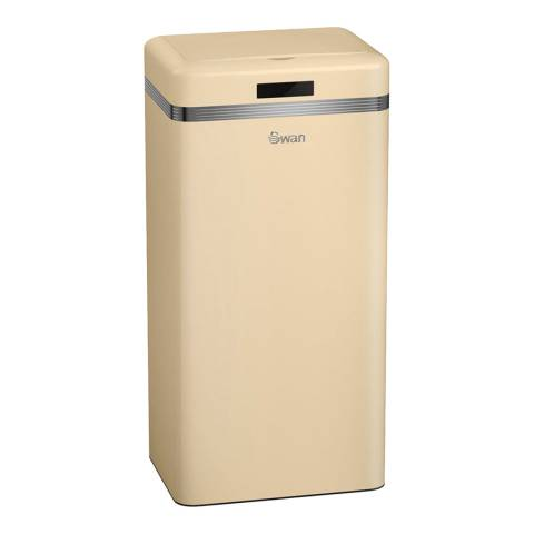 Swan Cream Retro Square Sensor Bin, 45L