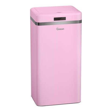 Swan Pink Retro Square Sensor Bin, 45L