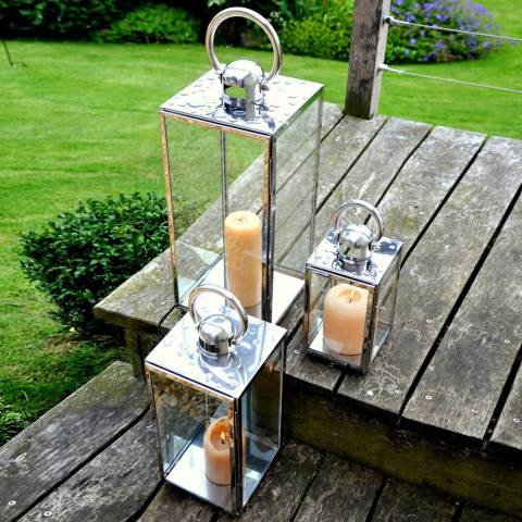 Adobe Square Stainless Lantern Medium