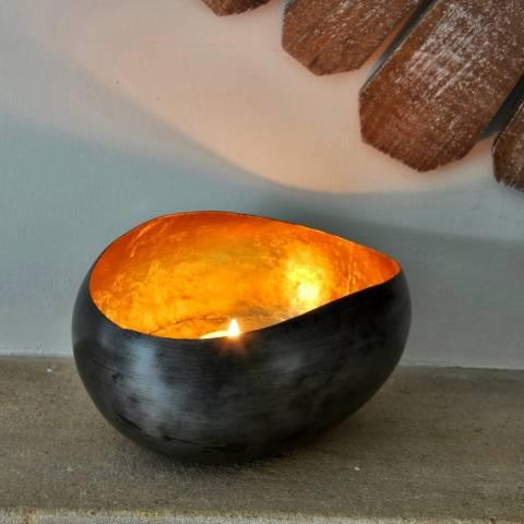 Adobe Gold Oval Pebble Tea Light Holder Large