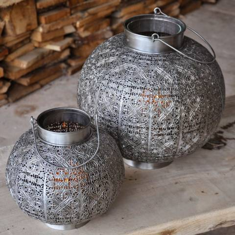 Adobe Silver Kashmir Globe Lantern Small