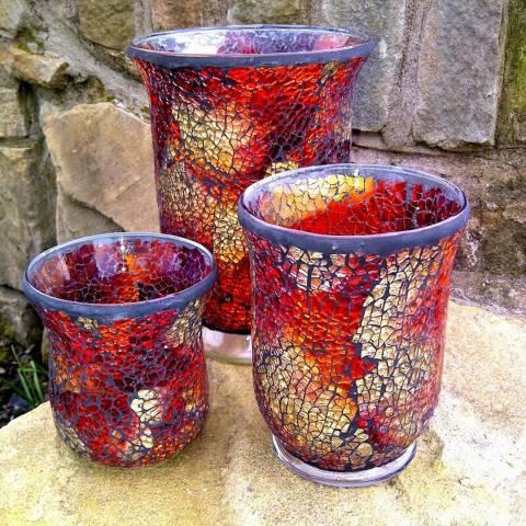 Adobe Opal Roman Mosaic Candleholder Large