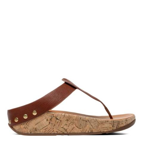 FitFlop Women's Tan Brown Ibiza Cork Toe Thong Sandal