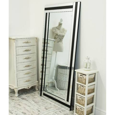Milton Manor Dalton Black All Glass Full Length Mirror 174x85cm