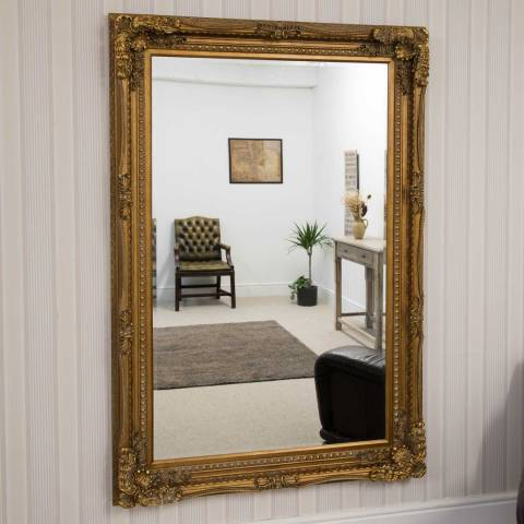 Milton Manor Carved Louis Gold Large Leaner Mirror 185x123cm