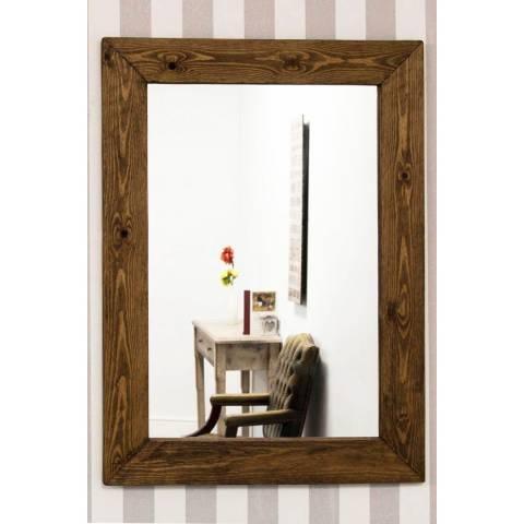 Milton Manor Farmhouse Dark Natural Wood Wall Mirror 93 x 68cm