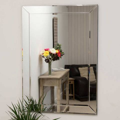 Milton Manor Horsley All Glass Modern Wall Mirror 110x77cm
