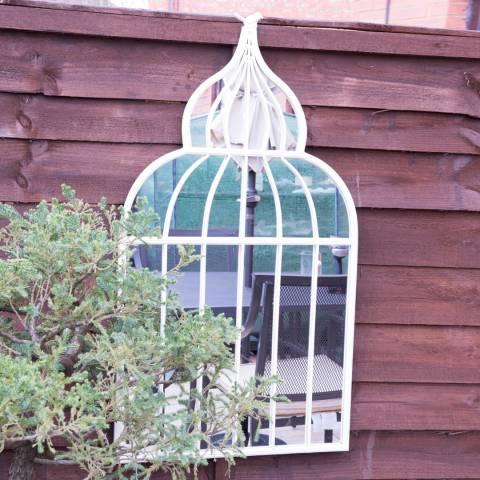 Milton Manor White Somerley Country Arch Garden Wall Mirror 92x51cm