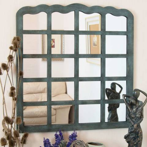 Milton Manor Teal Motley Overmantle Mirror 99x91cm