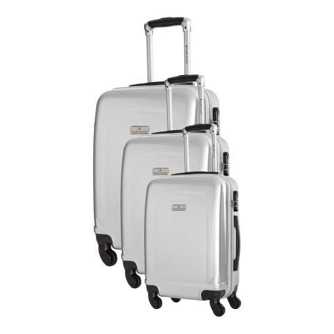 Platinium Set Of Three Silver Clarks Suitcases 50/60/70cm