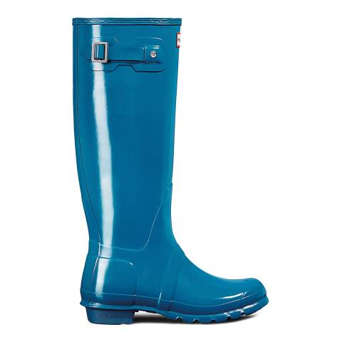 Hunter Women's Blue Original Gloss Tall Wellington Boots