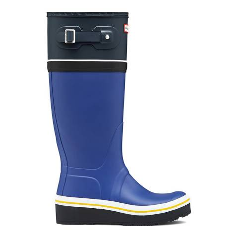 Hunter Women's Blue Buoy Stripe Wedge Tall Boots