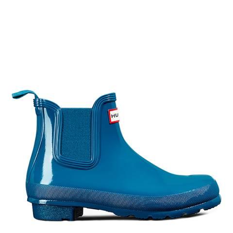 Hunter Women's Blue Gloss Original Short Boot