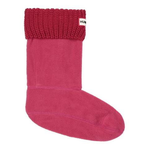 Hunter Pink Short Half Cardigan Stitch Boot Sock