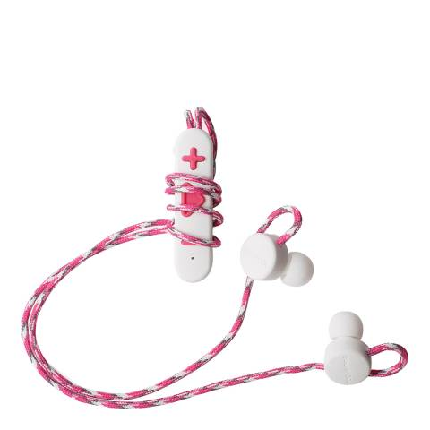 Boompods White/Pink Wireless Retrobuds Bluetooth Sports Earphones
