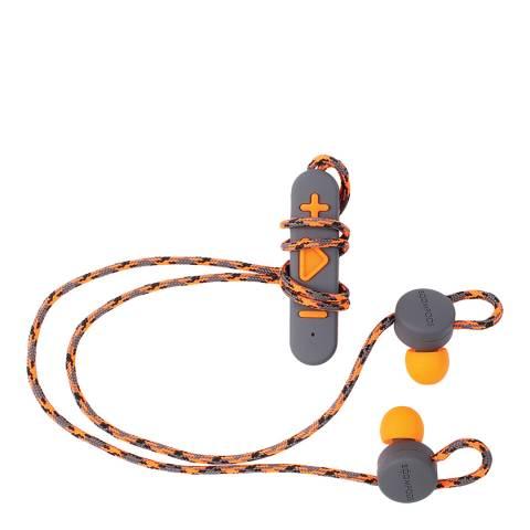 Boompods Grey/Orange Wireless Retrobuds Bluetooth Sports Earphones