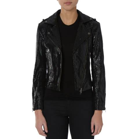 Bolongaro Trevor Black Snake Print Leather Biker Jacket