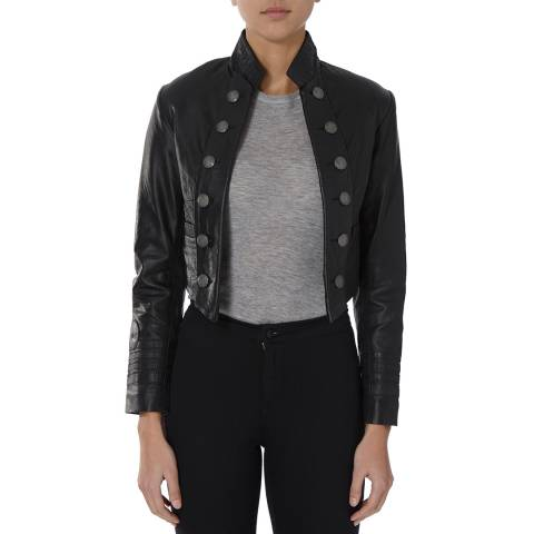 Bolongaro Trevor Black Military Cropped Leather Jacket