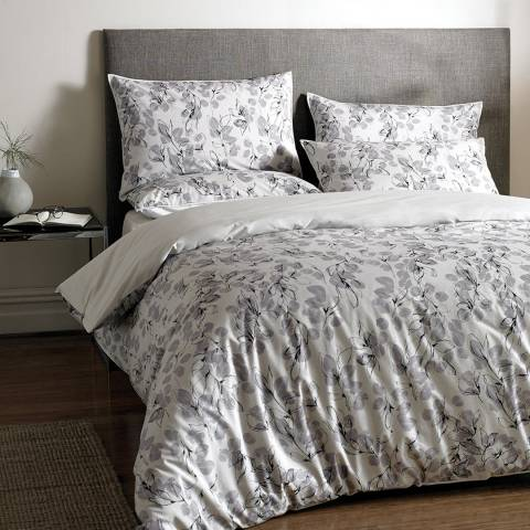 Jigsaw Linear Leaf Single Duvet Cover, Silver