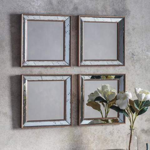 Gallery Set of 4 Bambra Square Mirrors 39x39cm