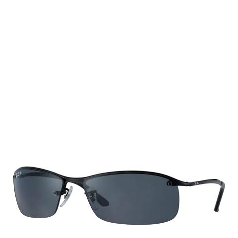 Ray-Ban Unisex Shiny Black Top Bar Sunglasses 63mm
