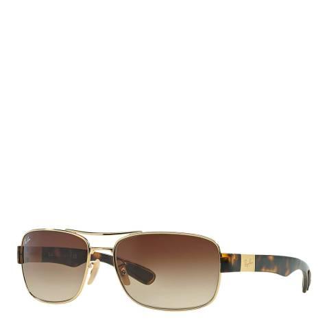 Ray-Ban Men's Gold/Brown Sunglasses 61mm