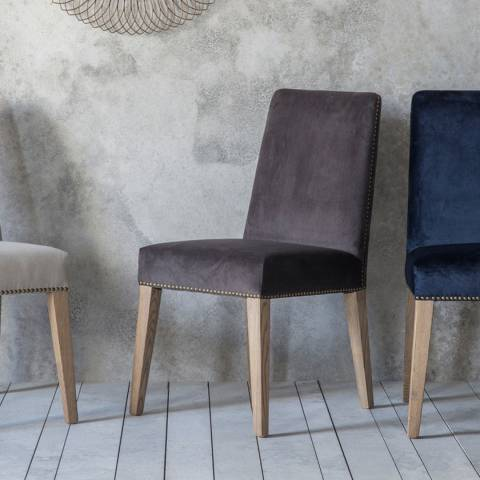Gallery Pair of Rex Dining Chairs, Mouse Velvet